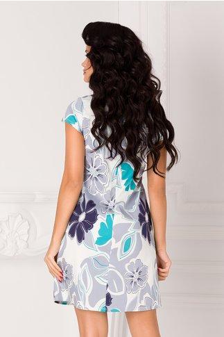 Rochie Celly alba cu imprimeu floral gri