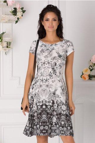 Rochie Cerasela alba casual cu imprimeuri florale gri