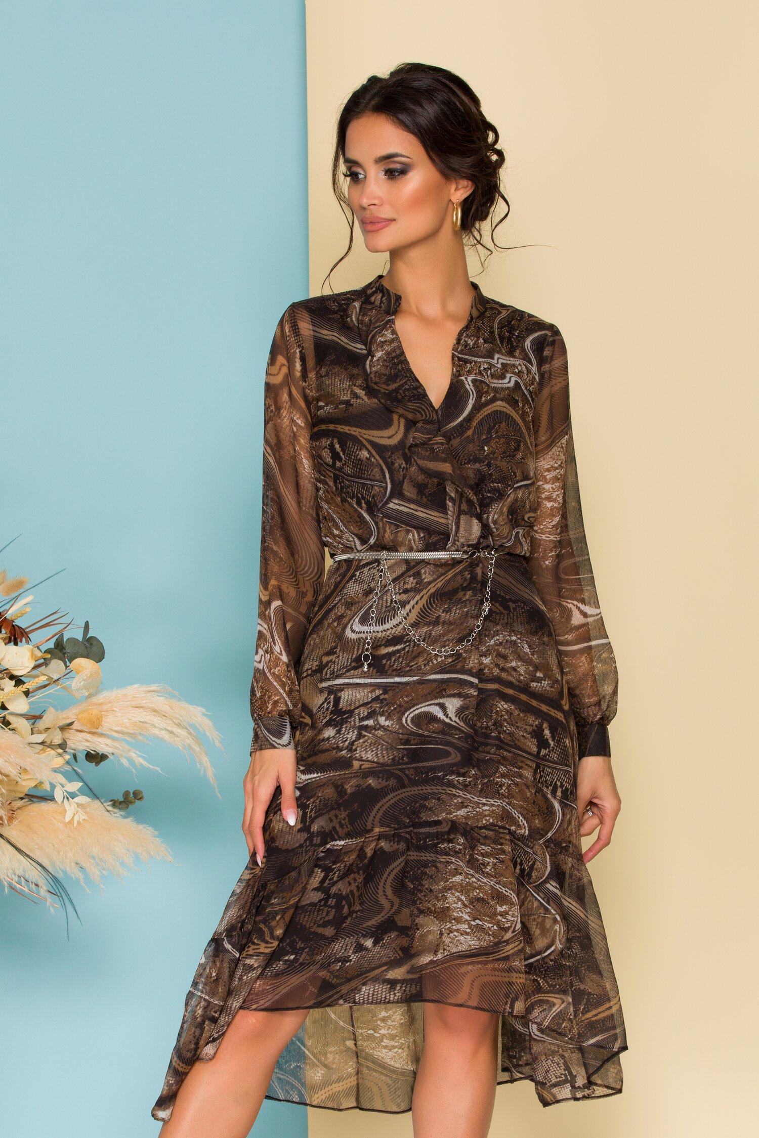 Rochie Cerasela maro cu imprimeu divers