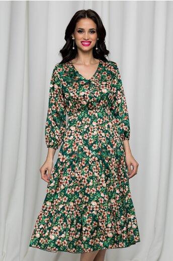 Rochie Charlotte verde satinata cu imprimeu floral