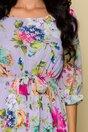 Rochie Chery mov cu decolteu rotund si imprimeu floral