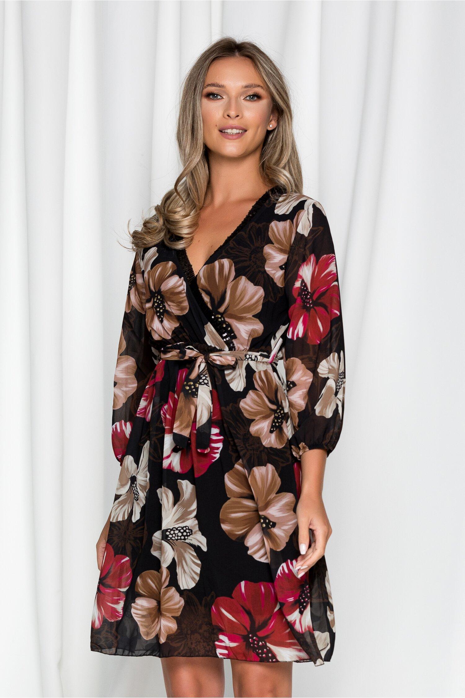 Rochie Chris neagra cu flori maro si rosii