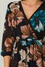 Rochie Chris neagra cu flori maro si turcoaz