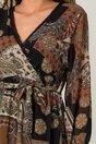Rochie Chris neagra cu imprimeu maro