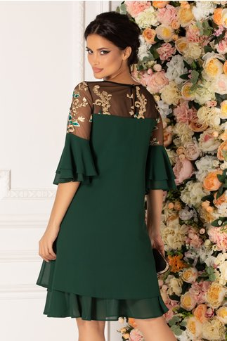 Rochie Chrisa verde inchis cu broderie florala la umeri