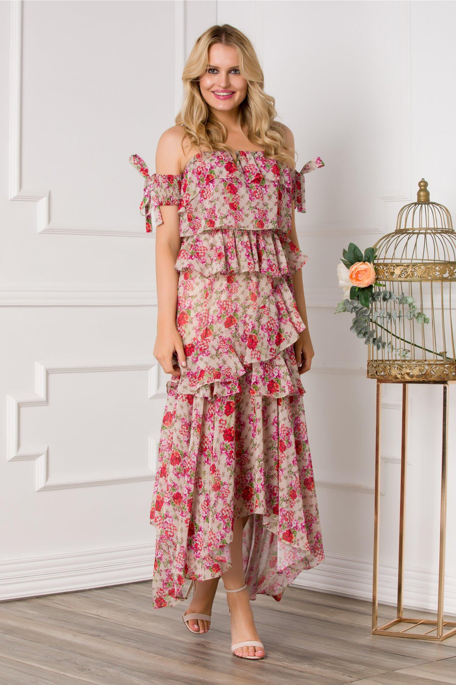 rochie chrissy bej cu volanase si imprimeuri florale rosii 534516 4