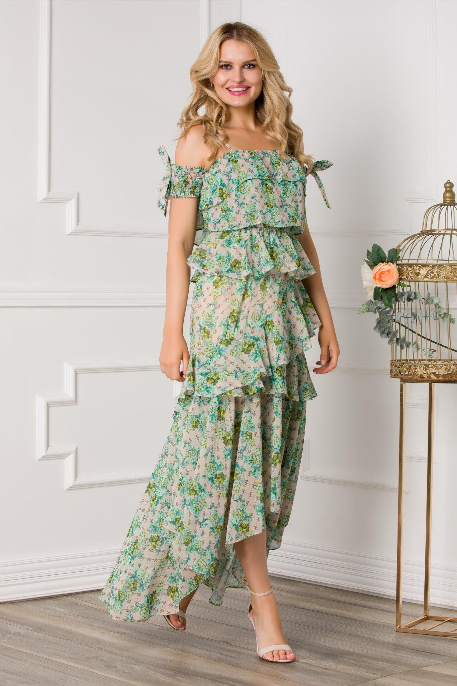 rochie chrissy bej cu volanase si imprimeuri florale turcoaz 534531 4