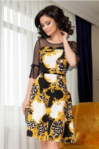 Rochie Cindy neagra cu imprimeu galben si maneci din tull cu buline