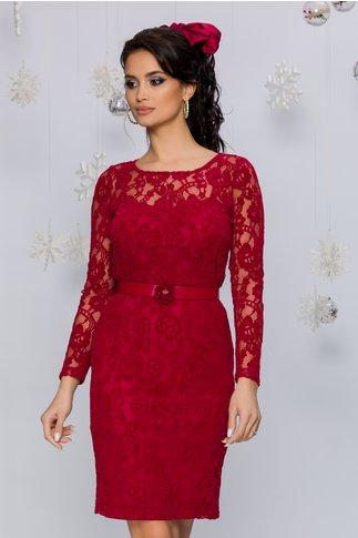 Rochie Ciri rosie din dantela catifelata