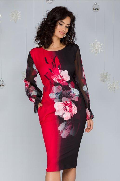 Rochie Claire negru cu rosu si imprimeu floral maxi pe mijloc