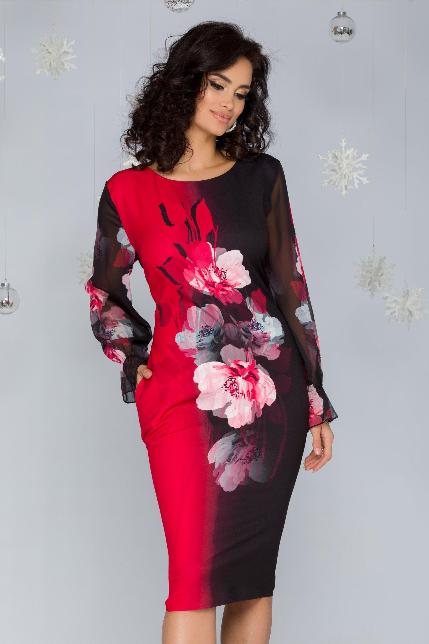 Rochie Clara negru cu rosu si imprimeu floral
