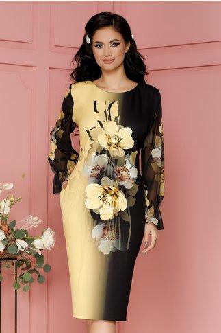 Rochie Clara neagra cu imprimeu floral galben si maneci din voal