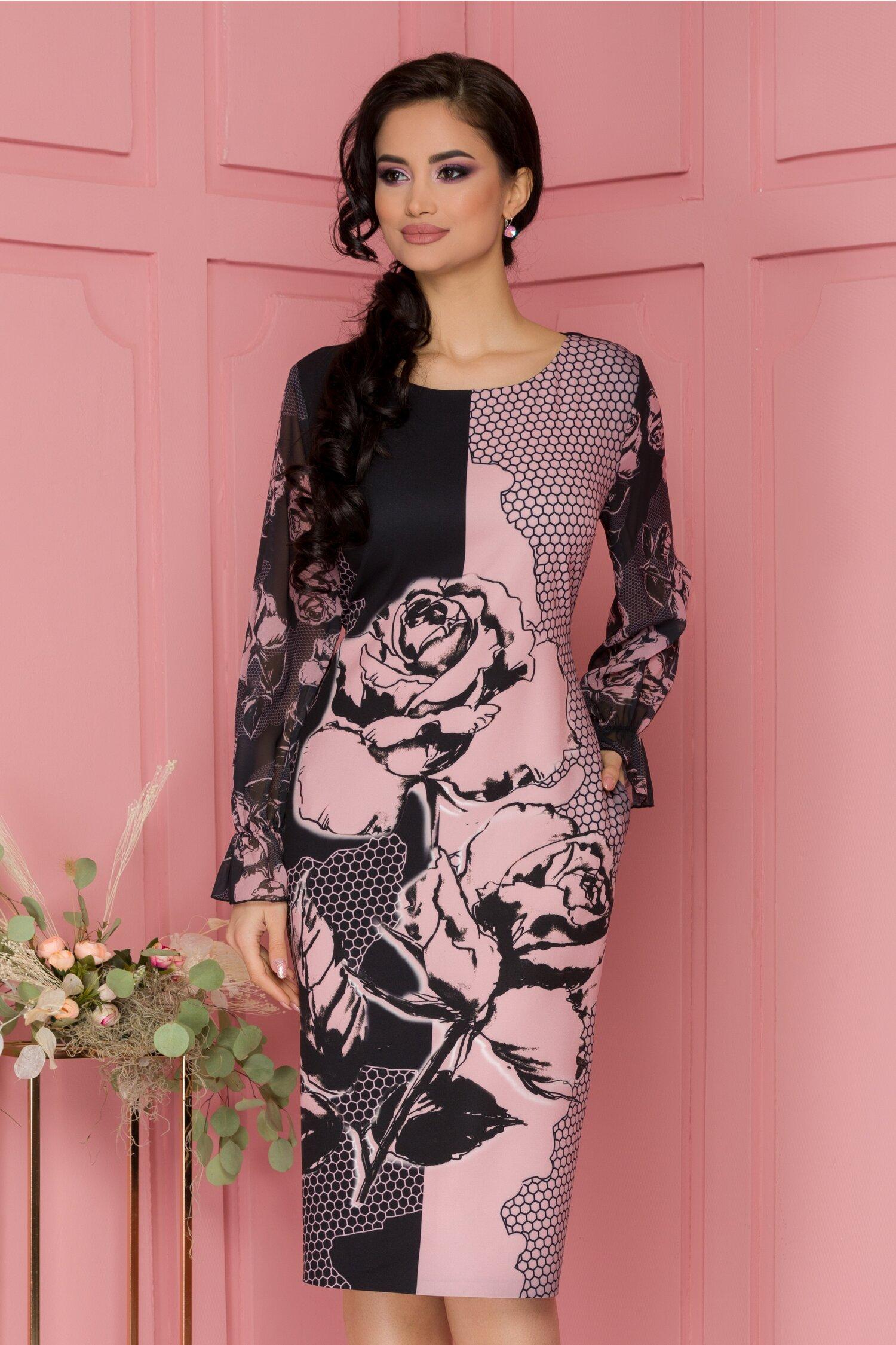 Rochie Clara neagra cu imprimeu tip fagure roz si maneci din voal