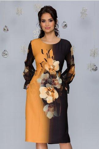 Rochie Clara negru cu galben mustar si imprimeu floral maxi pe mijloc