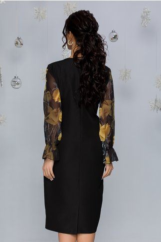 Rochie Clara negru cu galben pal si imprimeu floral si maneci din voal