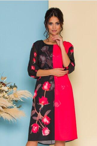 Rochie Clara negru si corai cu trandafiri si maneci trei  sferturi din voal