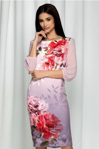 Rochie Clara roz cu imprimeu floral maxi si degrade