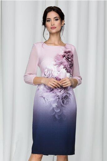 Rochie Clara roz cu imprimeu floral si degrade
