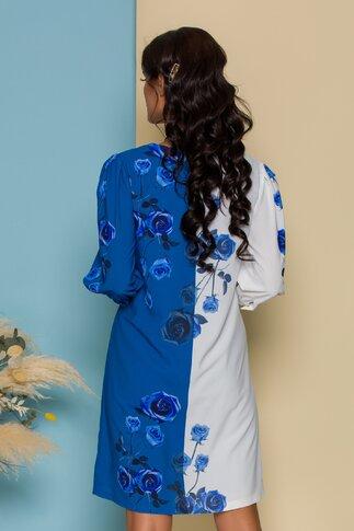 Rochie Claris alb si bleu cu trandafiri imprimati