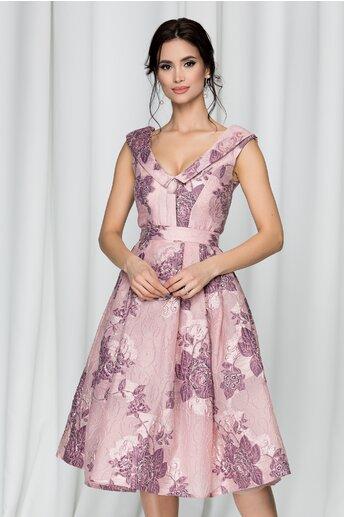 Rochie Clarisa roz din jacard cu imprimeu floral 3D