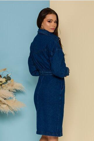 Rochie Clarissa albastra din denim cu curea in talie