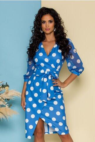 Rochie Clark bleu cu buline si design petrecut