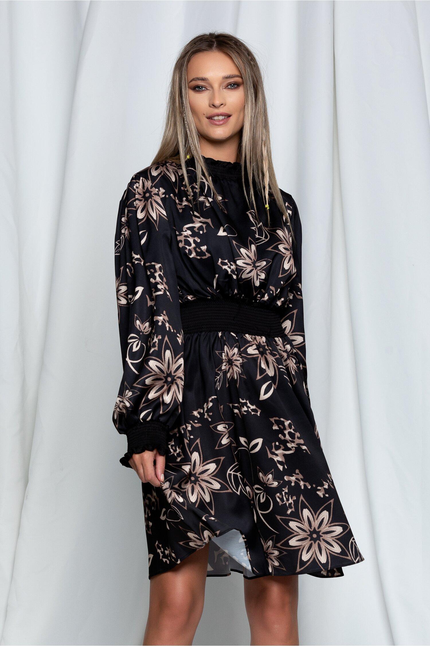 Rochie Clary neagra satinata cu imprimeu floral