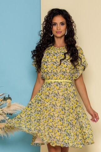 Rochie Cleo bej cu flori galbene