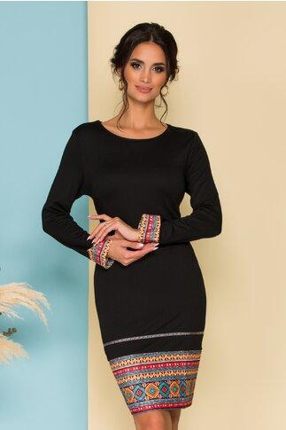 Rochie Cleo neagra cu imprimeuri traditionale