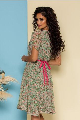 Rochie Cleo vernil cu flori corai