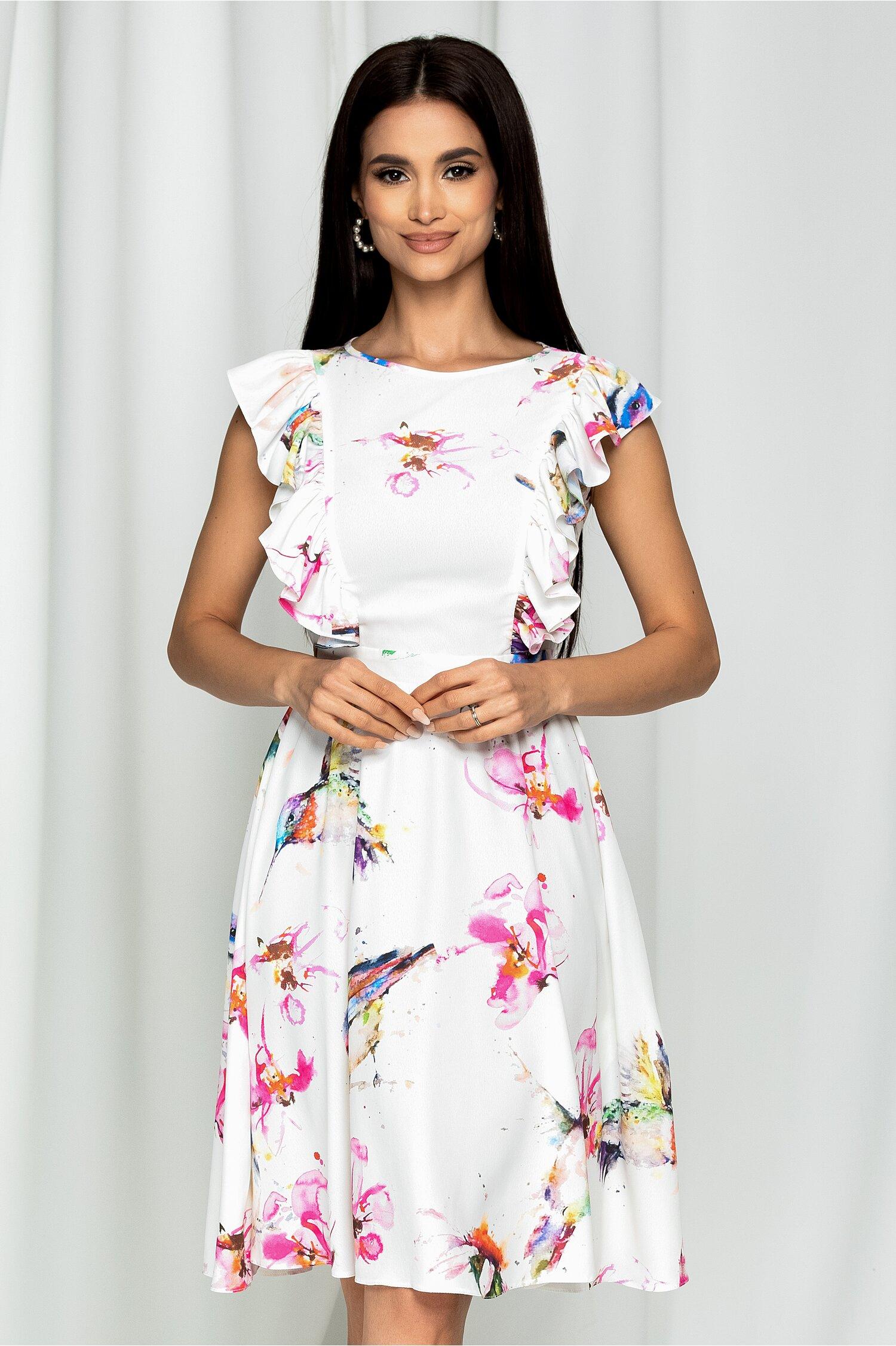 Rochie clos LaDonna alba cu imprimeu multicolor si volane la bust