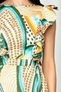 Rochie clos LaDonna cu imprimeu divers multicolor si volane la bust