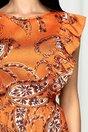 Rochie clos LaDonna orange cu imprimeu floral si volane la bust