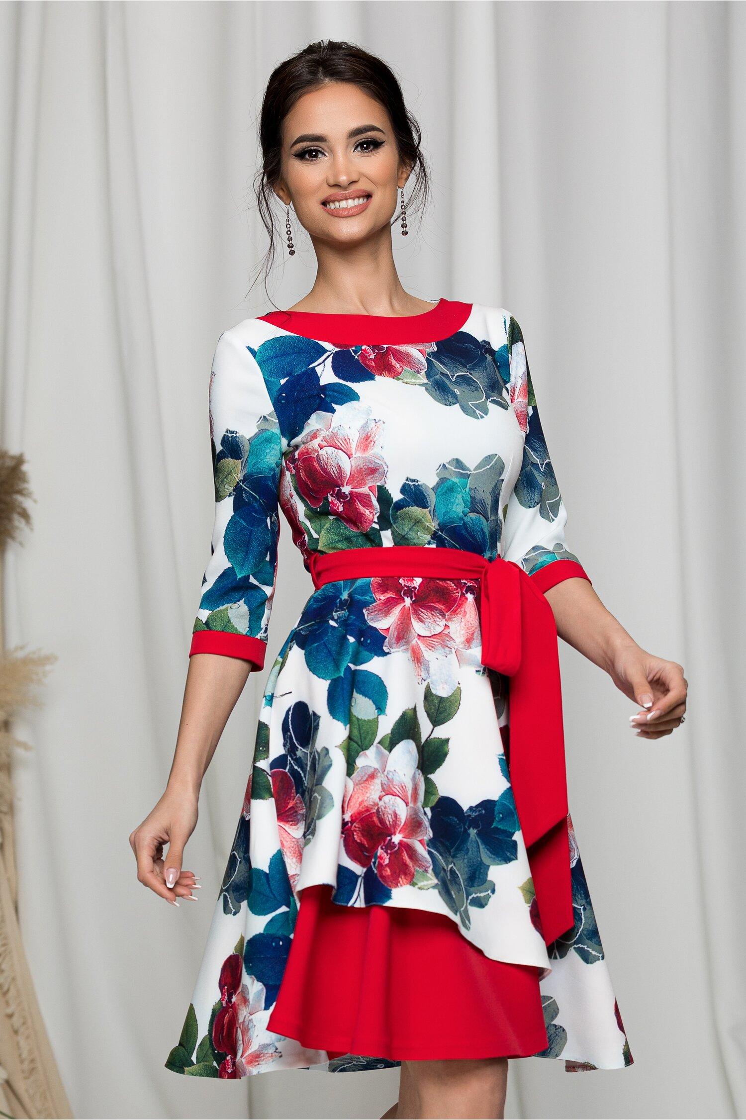 Rochie clos MBG alba cu imprimeu floral albastru si cordon rosu