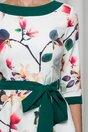 Rochie clos MBG alba cu imprimeu floral si cordon verde