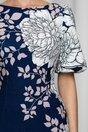 Rochie conica MBG bleumarin cu imprimeu floral maxi