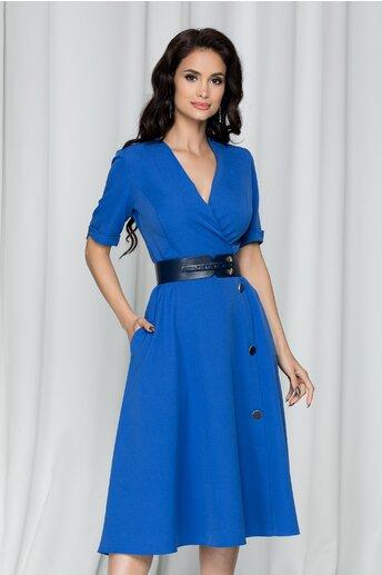 Rochie Consuela albastra accesorizata cu nasturi pe fusta