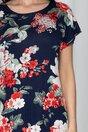 Rochie Consuelo bleumarin cu imprimeu floral rosu si bej