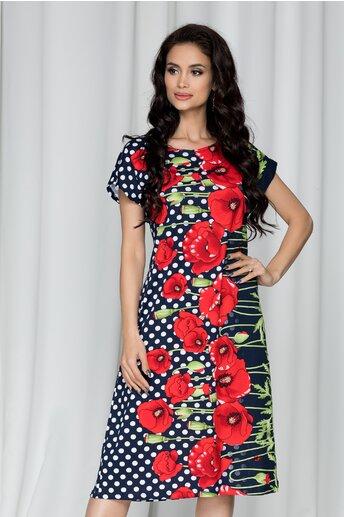 Rochie Consuelo bleumarin cu imprimeu floral rosu si buline