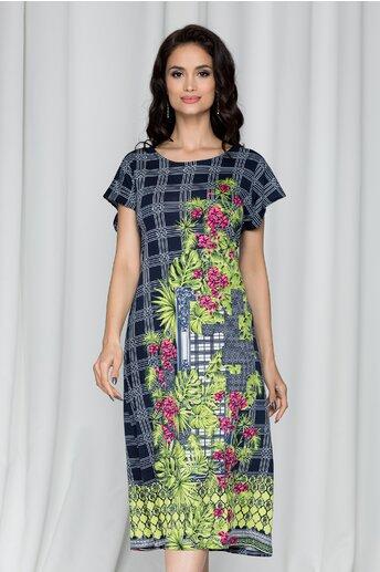 Rochie Consuelo bleumarin cu imprimeu floral si geometric