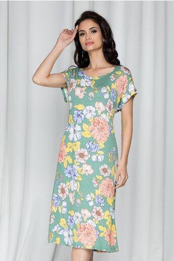 Rochie Consuelo verde cu imprimeu floral albastru
