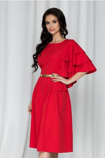 Rochie Cora rosie cu volane pe o maneca si curea in talie