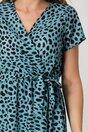 Rochie Corina bleu cu imprimeuri negre si croi petrecut