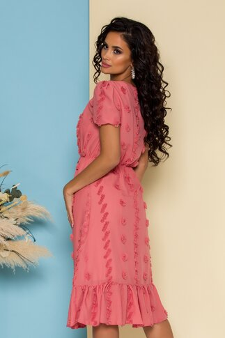 Rochie Corina clos roz cu ciucuri