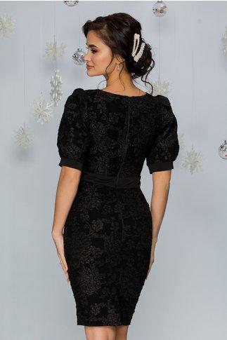 Rochie Corina neagra cu imprimeu floral