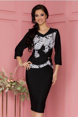 Rochie Corina neagra cu peplum si imprimeu floral alb