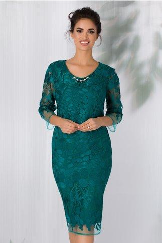 Rochie Corina verde cu dantela brodata