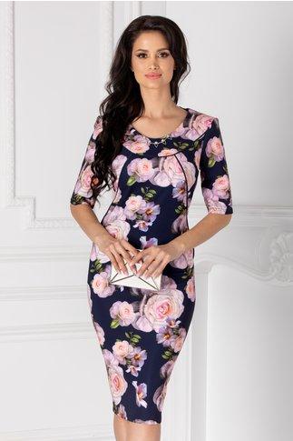 Rochie Corinne bluemarin cu imprimeu floral roz
