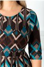 Rochie Corrine clos cu imprimeuri turcoaz-maro