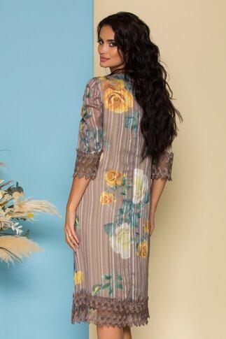 Rochie Cory beige din voal cu imprimeu floral si design in dungi